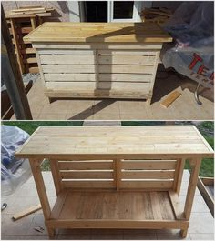 Pallet wood counter table is quite a unique idea of using the wood pallets material. In this form of idea you will view the counter table that is about 2 as in quantity amount. You can favorably make the use of the upper portion of the table for some decoration pieces or even for placing some aquarium boxes.