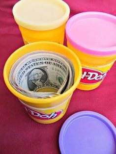 """Creative Way to Wrap Money Gifts Money: Play """"Dough creative ways to give money Reuse a Play-Doh container to hide money in as a gift. Add a gift tag that says something like, """"Here's some 'dough' to play with this Christmas. Creative Money Gifts, Cool Gifts, Diy Gifts, Money Gifting, Diy Christmas Gifts, Christmas Humor, Santa Gifts, Christmas Ideas, Christmas 2019"""