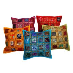 Jaipuri Designer Patchwork Cushion Cover Set Colourful Covers