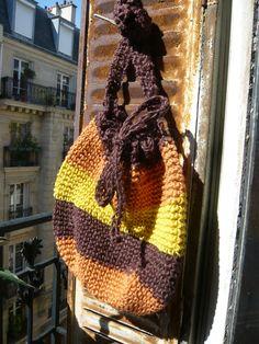 handmade crocheted jute twine bag,tote, colourful,stripes,yellow,orange,halloween,brown, Corricella pattern. $80.00, via Etsy.