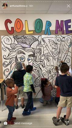 40 Ideas Elementary Art Room Ideas Middle School For 2019 Collaborative Art Projects, School Art Projects, Group Art Projects, Middle School Art, Art School, Arte Elemental, Culture Art, School Murals, Art Classroom