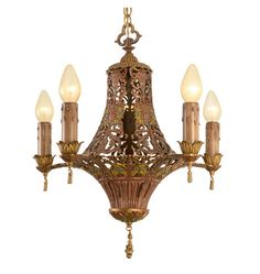 Over-The-Top Floral Chandelier W/Original Polychrome, C1928
