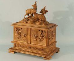 Antiqe Black Forest Wood Carved Cigar Box