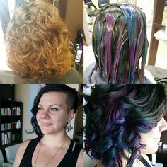 """Here's the processes of oil slick hair """"a shiny black base with color peeking through"""" Uses a combo of joico color intensity,"""