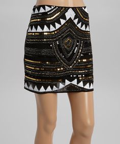 Look what I found on #zulily! May & July Black & Silver Shimmer Embellished Skirt by May & July #zulilyfinds