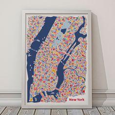 La carte illustrée de New York signée Vianina montre les détails de nombreux…