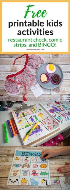 free printable kids activities bundle - play restaurant check, animal BINGO game, comic strip template - indoor kids fun