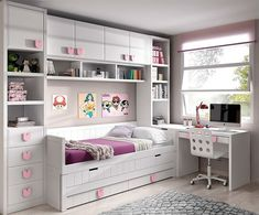 Extra large twin daybed with storage, desk and wall mounted shelving. Extra large twin daybed with storage, desk and wall mounted shelving. Lots of storage giving small bedroom a large f Kids Bedroom Designs, Kids Room Design, Wall Design, Room Kids, Small Room Bedroom, Trendy Bedroom, Master Bedroom, Bedroom Decor, Bedroom Girls