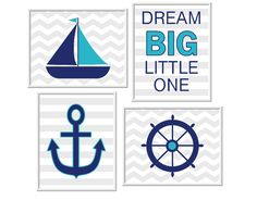 Nautical Baby Boy Nursery Wall Art Sailboat Anchor Wheel Dream Big Little One Quotes for Baby Boy Decor Blue Teal Gray Decor for Boys Room Prints Kids Bath Art, $28.00