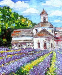 Original Provence France Lavender painting on canvas impressionism palette knife fine art texture landscape by Karen Tarlton