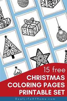 Looking for some fun and intricate Christmas coloring pages? Enjoy this free printable coloring book of 15 Christmas coloring sheets for kids and adults featuring Christmas trees, stars, gifts, stockings, and more. Christmas Coloring Sheets For Kids, Printable Christmas Coloring Pages, Free Christmas Printables, Free Printables, Different Christmas Trees, Christmas Colors, Cool Coloring Pages, Coloring Books, Colouring
