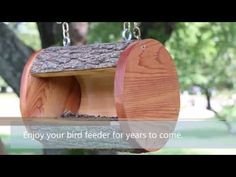 - DIY Bird Feeder Plans (Homemade Log Birdfeeder) Learn how to make a hanging Bird Feeder from a natural LOG. This homemade DIY bird feeder will attract bluebirds, goldfinches, etc. to yard or garden. Bird Feeder Plans, Diy Bird Feeder, Wood Projects That Sell, Woodworking Projects For Kids, Woodworking Square, Woodworking Shop, Woodworking Joints, Woodworking Classes, Woodworking Plans