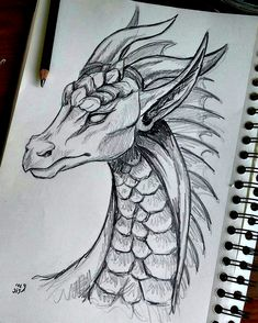 Dark Art Drawings, Art Drawings Sketches Simple, Pencil Art Drawings, Animal Drawings, Easy Drawings, Easy Dragon Drawings, Tattoo Drawings, Tattoo Sketches, Pencil Sketch Art