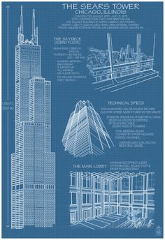 Sears Tower Blue Print - Chicago, Il, C.2009 Posters at AllPosters.com