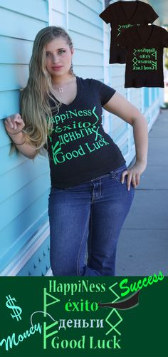 """$20.00 """"Magic"""" t-shirt can transform your boring look into something captivating. You do not have to be over-dressed or no need to wear accessories when wearing this shirt because the design is enough to make a statement and leave a cool impression. It says: HAPPINESS. SUCCESS. MONEY. GOOD LUCK"""