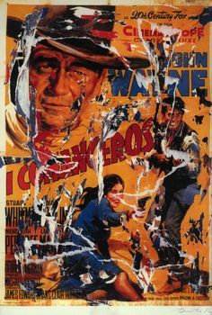 Mimmo Rotella, I Comanceros, seridécollage, 70x100 cm Il seridécollage, con gli strappi fatti a mano, riproduce il manifesto del western diretto da Michael Curtiz nel 1961 e interpretato da John Wayne, Lee Marvin e Ina Balin. Presenta la firma dell'artista in basso a destra, la sigla P. A. (prova d'autore) e il timbro della Fondazione Mimmo Rotella in basso a sinistra. http://milanoarte.biz/index.php/mimmo-rotella-569.html