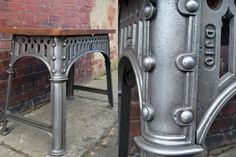 Cast iron machine base made by Richmond  Chandler, Manchester, with a reclaimed timber top. c1880