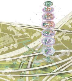 Galería de Urban Droneport, imaginando la infraestructura necesaria para transportar mercancía en drones - 7