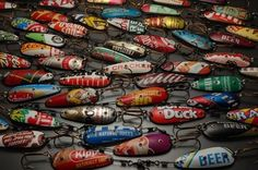 DIY idea Recycle metal packaging into fishing lures / hooks no tutorial.