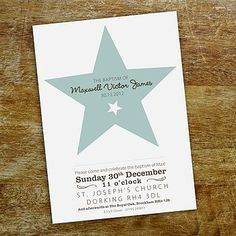 Star Christening Invitation