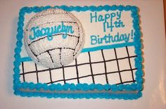 For a friend& daughter who loves sports, but volleyball especially. I used half of the sports ball on a Thanks to several CC& for posting similar pictures. They sure helped in the idea dept! Volleyball Birthday Cakes, Volleyball Party, Volleyball Mom, Sports Birthday, 14th Birthday, Birthday Fun, Birthday Ideas, Cake Birthday, Volleyball Quotes