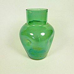 Green Lustre Glass Vase, Art Nouveau.