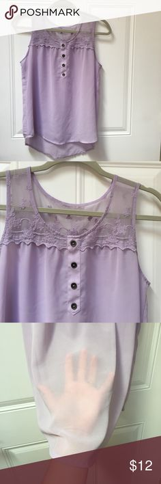 Selling this Purple Lavender Lace Tank Top Sleeveless Sz Small on Poshmark! My username is: thomrach. #shopmycloset #poshmark #fashion #shopping #style #forsale #Tops