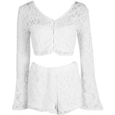 Boohoo Seren Lace Crop & Shorts Co-Ord Set | Boohoo (118625 PYG) ❤ liked on Polyvore featuring shirts, waist belts, lace waist belt, golf skirts, white golf skirt and lace skort