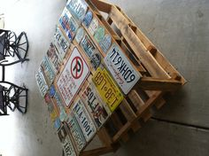 Charmant License Plates Attached To The Top Of A Table We Made From Recycled  Pallets. The Perfect Outdoor Furniture For My Family!