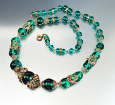 Emerald Green Czech Glass Art Deco Necklace Rhinestone by boylerpf, $165.00