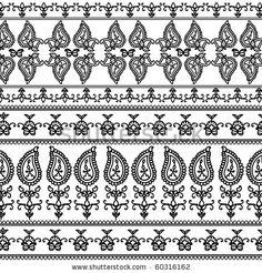 stock vector : Very detail Henna art Inspired Border designs