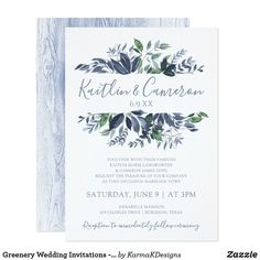 Greenery Wedding Invitations - Dusty Blue & Green