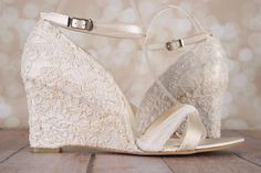 Ivory Wedding Shoes / Lace Wedge Wedding Shoes / Lace Heel Shoes / Ivory Bridal Wedges / Pearl Wedding Accessories / Custom Wedding Shoes