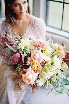 """From the editorial """"Cozy Meets Elegant In This Modern Farmhouse Inspiration Shoot"""". The fabulous florals by Victoria Clausen Floral Events bring life to the day. 