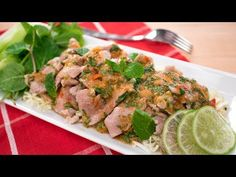 """This dish is called """"lime pork"""", but really it's more like tender pork sliced drenched in a spicy garlic lime dressing…served with fresh crunchy vegetables and topped with mint leaves. Easy Thai Recipes, Lamb Recipes, Meat Recipes, Asian Recipes, Cooking Recipes, Ethnic Recipes, Yummy Recipes, Recipies, Patsy Recipe"""