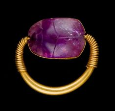 Amethyst Scarab RingAncient Egyptian amethyst scarab set in a gold ring. Now in the Worcester Art Museum, Massachusetts. Ancient Symbols, Ancient Artifacts, Ancient Aliens, Egyptian Goddess, Egyptian Mythology, Egypt Museum, Ancient Egyptian Jewelry, European History, American History
