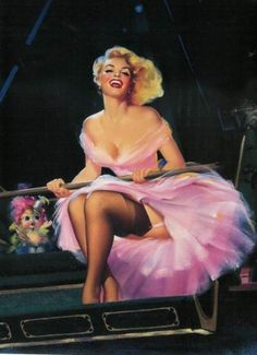 Women depicted in pinup art were so lovely; notice how she has her feet crossed so ladylike yet the breeze from the Ferris wheel was blowing up revealing just a hint of sex. So perfect. Wish we as a generation could get back to modesty...