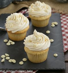 Vanilla Cupcakes with White Chocolate Buttercream from @Shannon Thomas Skinny Chick Can Bake!!!