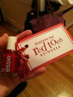 Red nail polish = Rudolph the Red Toes Reindeer. Cute!