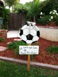 Items similar to Soccer Ball Yard Art on Etsy Soccer Banquet, Soccer Theme, Soccer Party, Soccer Ball, Soccer Decor, Soccer Locker, Girls Soccer, Soccer Crafts, Soccer Snacks