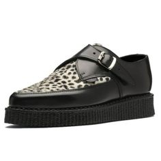 Mens-UNDERGROUND-Leather-Leopard-Buckle-Up-Hacienda-Creeper-Rockabilly-Shoes