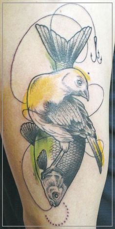 bird, fish, line & hook tattoo by jessica mach