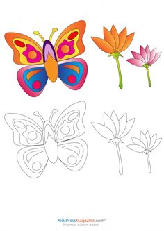 Butterfly Coloring Page With Colored Reference  #Coloring #Printable #Kids #Butterfly