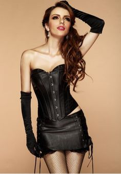 a559660c93 PVC Leather Long Line Bustier with Mini Skirt Leather Corset, Black Corset,  Leather Lingerie