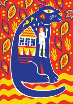Blue Panther by Margaux Carpentier.  Margaux Carpentier is an illustrator and print maker based in London. Her graphic style includes many mediums such as pens, giant brushes and bright cans of spray paint.  http://margauxcarpentier.com/