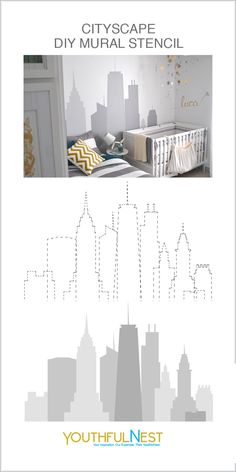 Cityscape / Skyline Mural Stencil Includes: Set of 10 individual paper stencil buildings. Each needs to be cut out prior to tracing on the wall. Each stencil has a dashed line to follow and basic instructions for application. You can use one or all of the buildings together to create the skyline mural you see here. Purchase on our site. #muralideas