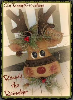 Rowdy the Reindeer Pattern-Reindeer Pattern,Christmas Pattern,Reindeer, Christmas, Old Road Primitives,Craft Pattern,
