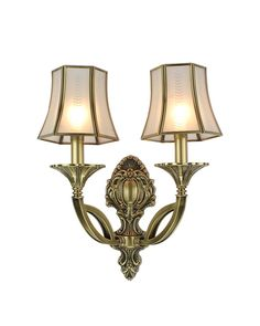 2 Candle-shape Lights Classical Style Copper Glazing Wall Sconce