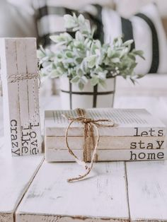 Farmhouse Hand Stamped Book Stacks // Stamped Book Set // Stamped Books // Rustic Books // Rustic Decor // Neutral Decor // Stamped Decor