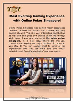Play online poker singapore www com Very Interesting, Online Poker, Big Money, Play Online, Very Excited, Singapore